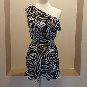 Zebra Print One Shoulder Romper